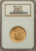 Indian Eagles, 1909-S $10 AU58 NGC....