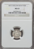 Seated Half Dimes: , 1872-S H10C Mintmark Below Bow MS63 NGC. NGC Census: (134/383).PCGS Population (129/305). Mintage: 837,000. Numismedia Wsl...