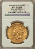 Liberty Double Eagles: , 1854 $20 Small Date -- Obverse Scratched -- NGC Details. Unc. NGCCensus: (9/24). PCGS Population (5/18). Mintage: 757,899....