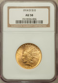 Indian Eagles: , 1914-D $10 AU58 NGC. NGC Census: (545/1930). PCGS Population(506/1672). Mintage: 343,500. Numismedia Wsl. Price for proble...