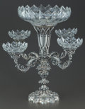 Silver Holloware, British:Holloware, A HENRY WILKINSON & CO. VICTORIAN SILVER AND GLASS EPERGNE.Henry Wilkinson & Co., Sheffield, England, circa 1846-1847.Mark...