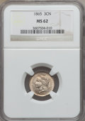 Three Cent Nickels: , 1865 3CN MS62 NGC. NGC Census: (300/1089). PCGS Population(262/1177). Mintage: 11,382,000. Numismedia Wsl. Price for probl...