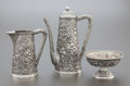 Silver Holloware, American:Coffee Pots, A THREE PIECE BLACK, STARR & FROST SILVER REPOUSSÉ DEMI COFFEESERVICE. Black, Starr & Frost, New York, New York, circa1880... (Total: 3 Items)