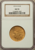 Indian Eagles: , 1915-S $10 AU55 NGC. NGC Census: (67/275). PCGS Population(54/219). Mintage: 59,000. Numismedia Wsl. Price for problem fre...