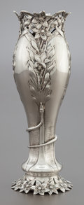 Silver Holloware, American, A BLACK, STARR & FROST RETICULATED SILVER VASE. Black, Starrand Frost, New York, New York, circa 1900. Marks: BLACK,STAR...