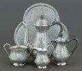 Silver & Vertu:Hollowware, A FIVE PIECE INDIAN SILVER COFFEE SERVICE AND TRAY . Circa 1900. Unmarked. 9-1/4 inches high (23.5 cm) (teapot). 80.2 ounces... (Total: 5 Items)