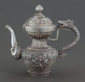 Asian:Other, A TIBETAN SILVER AND HARDSTONE COVERED EWER . Circa 1900. Unmarked.10 inches high (25.4 cm). 39.7 ounces (gross). ...