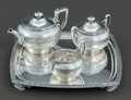 Silver Holloware, American:Tea Sets, A FOUR PIECE TIFFANY & CO. SILVER DEMI TEA SERVICE BY JOHNMOORE . Tiffany & Co., New York, New York, circa 1870-1875.Marks... (Total: 4 Items)