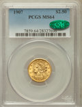 Liberty Quarter Eagles: , 1907 $2 1/2 MS64 PCGS. CAC. PCGS Population (2231/1520). NGCCensus: (2061/1521). Mintage: 336,200. Numismedia Wsl. Price f...