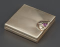 Silver Smalls:Other , A TIFFANY & CO. 14K GOLD AND GARNET MOUNTED LADIES COMPACT. Tiffany & Co., New York, New York, circa 1920. Marks: TIFFANY ...