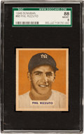 Baseball Cards:Singles (1940-1949), 1949 Bowman Phil Rizzuto, Name on Front #98 SGC 88 NM/MT 8....