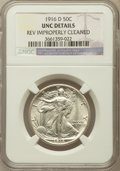 Walking Liberty Half Dollars: , 1916-D 50C -- Reverse Improperly Cleaned -- NGC Details. Unc. NGCCensus: (5/1076). PCGS Population (18/1330). Mintage: 1,0...
