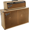 Musical Instruments:Amplifiers, PA, & Effects, 1962 Fender Bandmaster White Guitar Amplifier Head and Cabinet. ...
