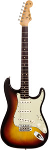 Musical Instruments:Electric Guitars, 1963 Fender Stratocaster Sunburst Solid Body Electric Guitar,Serial # L07150....