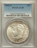 Peace Dollars: , 1925-S $1 AU55 PCGS. PCGS Population (152/6043). NGC Census:(138/4583). Mintage: 1,610,000. Numismedia Wsl. Price for prob...