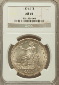 1874-S T$1 MS61 NGC. NGC Census: (68/126). PCGS Population (60/167). Mintage: 2,549,000. Numismedia Wsl. Price for probl...