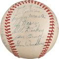 Autographs:Baseballs, 1951 New York Yankees Team Signed Baseball with Genuine DiMaggio,Mantle, Stengel....