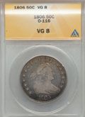 Early Half Dollars: , 1806 50C Pointed 6, Stem VG8 ANACS. O-116. NGC Census: (38/1846).PCGS Population (27/1014). Mintage: 839,576. Numismedia ...