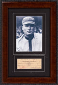 Autographs:Checks, 1941 Walter Johnson Signed Check Display....