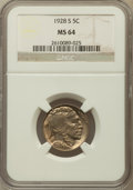 Buffalo Nickels: , 1928-S 5C MS64 NGC. NGC Census: (255/54). PCGS Population (351/72). Mintage: 6,936,000. Numismedia Wsl. Price for problem f...