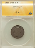 1803 1/2 C Good 4 ANACS. NGC Census: (6/158). PCGS Population (2/241). Mintage: 92,000. Numismedia Wsl. Price for proble...