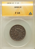 Large Cents: , 1838 1C Fine 15 ANACS. NGC Census: (8/671). PCGS Population(10/640). Mintage: 6,370,200. Numismedia Wsl. Price for problem...