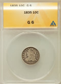 Bust Dimes: , 1835 10C Good 6 ANACS. NGC Census: (11/502). PCGS Population(6/645). Mintage: 1,410,000. Numismedia Wsl. Price for problem...