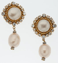Chanel Large Gold Crystal & Faux Pearl Drop Clip-On Earring