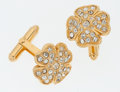 Luxury Accessories:Accessories, Chanel Gold Four Leaf Clover Cuff Links. ...