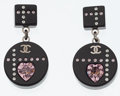 Luxury Accessories:Accessories, Chanel Pink & Clear Crystal CC Logo & Black Lucite DropEarrings. ...