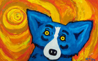 GEORGE RODRIGUE (American, b. 1944) Blue Dog Oil on canvas 30 x 48 inches (76.2 x 121.9 cm) Si