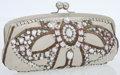 Luxury Accessories:Bags, Chloe Ivory Leather & Jeweled Evening Clutch with SilverHardware. ...