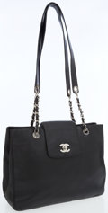 Luxury Accessories:Bags, Chanel Black Caviar Leather Shoulder Bag with Silver Hardware. ...