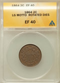 Two Cent Pieces, 1864 2C Large Motto, Rotated Dies XF40 ANACS. NGC Census:(26/1615). PCGS Population (40/1243). Mintage: 19,847,500.Numism...