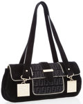 Luxury Accessories:Bags, Fendi Black Suede & Monogram Baguette Bag with Gold Hardware....