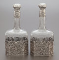 Silver Holloware, American:Other , A PAIR OF MAUSER SILVER OVERLAY ETCHED GLASS DECANTERS. The MauserManufacturing Company, New York, New York, circa 1890. Ma...(Total: 2 Items)