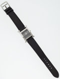 Luxury Accessories:Accessories, Hermes Classic Palladium H-Hour Watch with Black Epsom Leather Band. ...