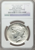 Peace Dollars, 1921 $1 High Relief -- Improperly Cleaned -- NGC Details. UNC. NGCCensus: (39/9857). PCGS Population (93/10962). Mintage: ...