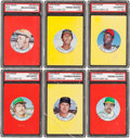Baseball Cards:Sets, 1973 Topps Baseball Candy Lids Proof Partial Set (34/55). ...