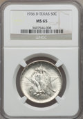 Commemorative Silver, 1936-D 50C Texas MS65 NGC. NGC Census: (693/265). PCGS Population(935/341). Mintage: 9,039. Numismedia Wsl. Price for prob...