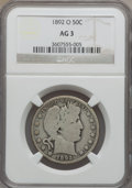 Barber Half Dollars, 1892-O 50C AG3 NGC. NGC Census: (2/135). PCGS Population (1/128).Mintage: 390,000. Numismedia Wsl. Price for problem free ...