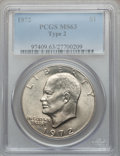 Eisenhower Dollars, 1972 $1 Type Two MS63 PCGS. PCGS Population (519/507). NumismediaWsl. Price for problem free NGC/PCGS ...