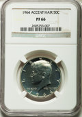 Proof Kennedy Half Dollars: , 1964 50C Accented Hair PR66 NGC. NGC Census: (1608/3967). PCGSPopulation (886/1340). Numismedia Wsl. Price for problem fr...
