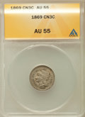 Three Cent Nickels: , 1869 3CN AU55 ANACS. NGC Census: (10/342). PCGS Population(24/327). Mintage: 1,604,000. Numismedia Wsl. Price for problem ...