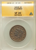 Large Cents, 1838 1C -- Cleaned -- ANACS. VF20 Details. NGC Census: (6/665).PCGS Population (14/626). Mintage: 6,370,200. Numismedia Ws...