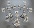 Silver & Vertu:Hollowware, A PAIR OF REED & BARTON SILVER-PLATED THREE-LIGHT CANDELABRA TOGETHER WITH AN EPERGNE. Reed & Barton, Taunton, Massachusetts... (Total: 3 )