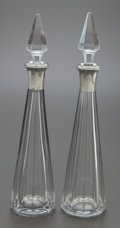 Silver Holloware, Continental:Holloware, A PAIR OF BACCARAT FRENCH CUT GLASS AND SILVER MOUNTED DECANTERS .Baccarat, France, circa 1900. Silver mounts: Bardies - Fa...(Total: 2 Items)