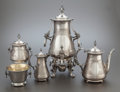 Silver Holloware, American:Coin Silver, A FIVE PIECE GORHAM COIN SILVER AND SILVER GILT COFFEE SERVICE.Gorham Manufacturing Co., Providence, Rhode Island, circa 18...(Total: 5 Items)