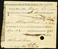 Colonial Notes:Massachusetts, Commonwealth of Massachusetts Treasury Tax Collector's Certificate.£7 May 11, 1786 Anderson 39 Very Fine, POC.. ...