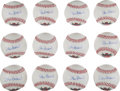 Baseball Collectibles:Balls, 1990's Stan Musial Single Signed Baseball Lot of 12. ...